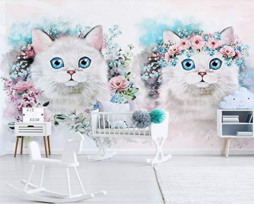 Fototapeten Wallpaper Tapete Nordic Simple Flower Kitty Kinderzimmer Dekoration Hintergrund Wohnzimmer Schlafzimmer Wände malen,250x175cm(WxH) -