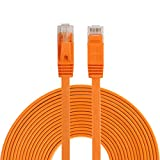 Rete Ethernet LAN Via Cavo Ethernet Via Cavo-Rete Ethernet Cable & Connector10m CAT6 Ultrasottile Piatto di Rete Ethernet Via Cavo LAN, Patch Piombo RJ45 (Nero) (Color : Orange)