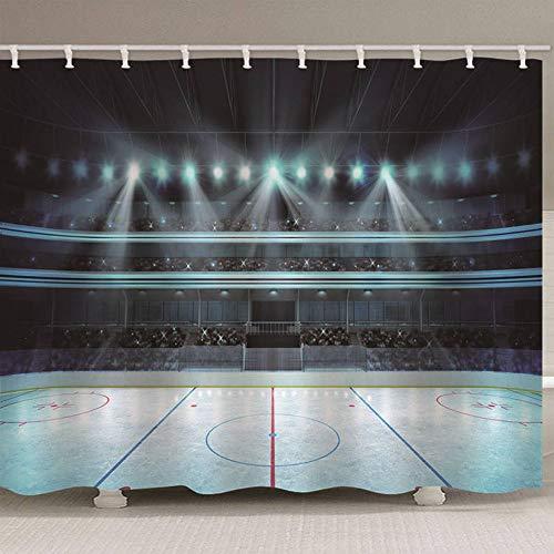 Duschvorhang 3D Vorhang Gym Licht Wasserdicht Umweltfreundlich Oforless 12 Haken, 200 (B) X180 (H) cm (Licht Grün Duschvorhang)