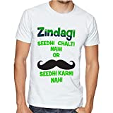 Casotec Zindagi Sidhi Chalti Nhi Custom Printed Designer Polyester Sports Round Neck T-Shirt