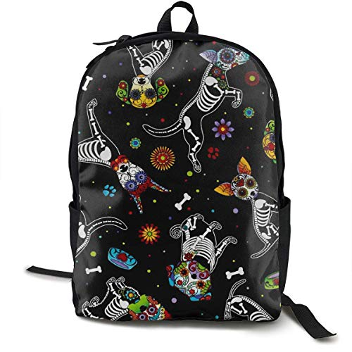 Schultaschen Schule High School Picnic Walking Cycling Backpack Daypack Lightweight Polyester Anti-Theft Multipurpose Backpck Big Capacity Carry-On Bag Day of Dead Pups Black -