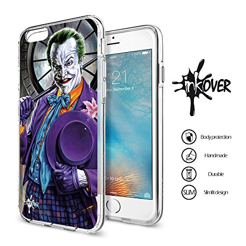 iPhone 7 (4.7) - INKOVER - Custodia Cover Case Guscio Protezione Bumper Trasparente Sottile Slim Fit Tpu Gel Gomma Morbida INKOVER Design Joker Cavaliere Oscuro Bat Man per APPLE iPhone 7 (4.7) JOKER 2