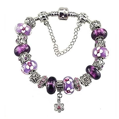 White Birch Charm Bracelets with Charms for Pandora Bracelets for women Purple Plus Size 22 cm Jewellery