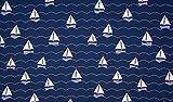 Qualitativ hochwertiger Jerseystoff mit Segelbooten auf Marine als Meterware zum kreativen Nähen von Erwachsenen und Kinderkleidung, 50 cm