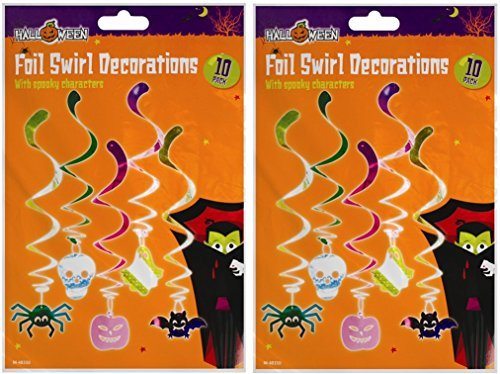 2 x Halloween Folie Swirl Dekorationen mit Spooky Zeichen ? Halloween Party