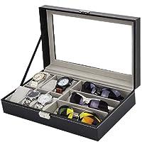 BRIJTECH Men's/Women's Leather 9 Slot 6-Watch/Cosmetic & 3-Sunglass Storage Box Organizer| Black