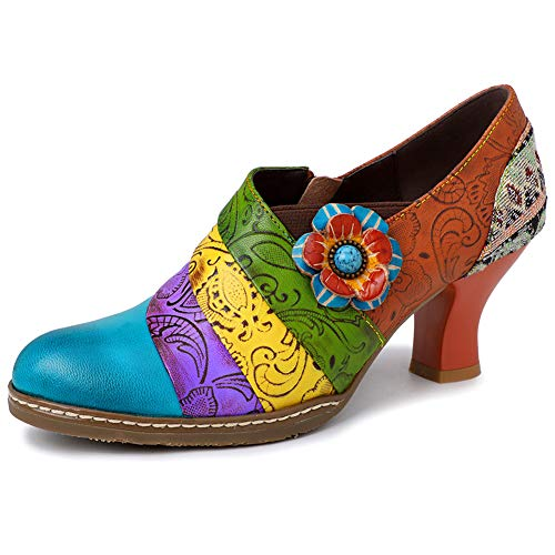 DoraTasia Frauen Chunky Heel Vintage Ankle Booties gedruckt Round Toe Zipper Low Top Single Schuhe Floral Leder Bootie Open-back Ankle Boots