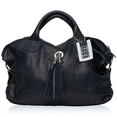 OH MY BAG Sac à Main en CUIR grainé femme porté main et bandoulière Modèle Chambord Nouvelle collection BLEU FONCE