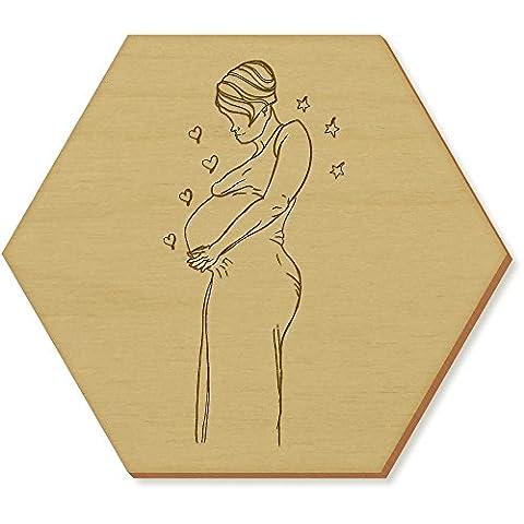 6 x 'Dame Enceinte' sous-verres en bois (CR00084094)