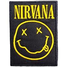 """Nirvana Smiley logo parche para coser en hierro bordado Applique 4.2""""/10.6cm"""