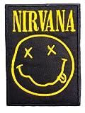 Parche para coser con planchado, aplique con diseño de sonrisa logo de Nirvana, de 10,6cm.
