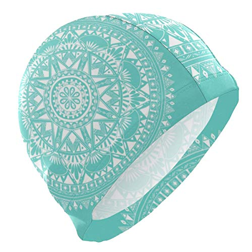 Gebrb Badekappe/Schwimmkappe/Bademütze, Swim Cap Mandala Boho Indian Mens Swimming Cap Boy Adult Teen Swimming Hat No-Slip