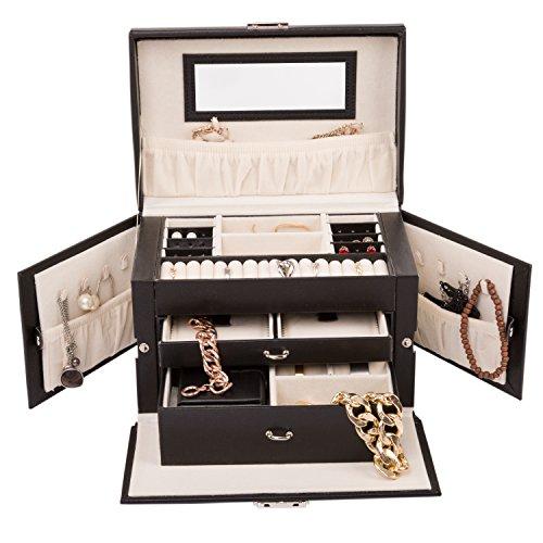 tresko-Joyero-Reloj-Relojes-Caja-Estuche-Joyero-Joyas-Caja-con-mini-de-joyas-para-la-mano-de-piel-sinttica-en-negro-17-compartimentos-asa