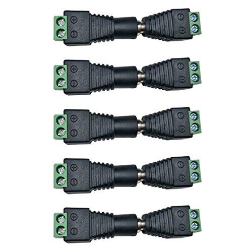 Dc Jack Kabel (Liwinting 5 Stecker + 5 Buchse DC Verbinder, 2.1x5.5mm DC Netzkabel, Jack Adapter Verbinder für LED-Streifen-Licht,LED-Band-Licht und CCTV-Kamera, Benutzen Sie DC 12V (5 Paare/Paket))