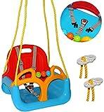 alles-meine.de GmbH Babyschaukel / Gitterschaukel - mitwachsend & umbaubar - mit Gurt -  ROT / GELB / BLAU  - leichter Einstieg ! - 100 kg belastbar - Kinderschaukel ab 1 Jahre - mit Rückenlehne & Seitenschutz - mitwachsende - Schaukel für Kinder - Innen und Außen / Garten - für Baby´s - aus Kunststoff / Plastik - Gitterschaukel / verstellbare Kleinkindschaukel - Baby - Indoor Outdoor / Kunststoffschaukel - Mitwachsschaukel bunt - Sicherheitsgurt
