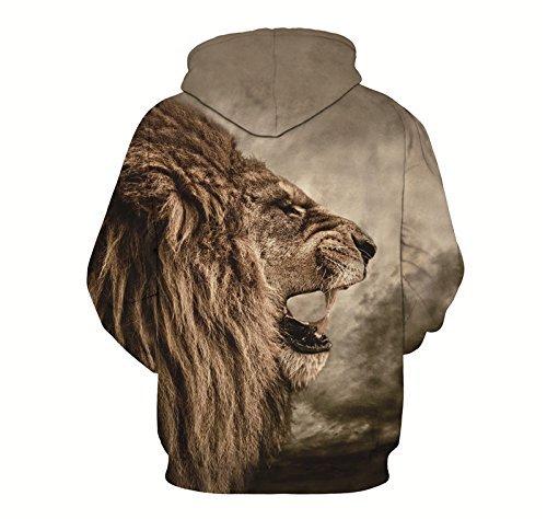 Minetom Donna Uomo Sweatshirt Unisex Coppia Casuale Felpa Con Cappuccio 3D Stampato Maniche Lunghe Hoodies Pullover Lion