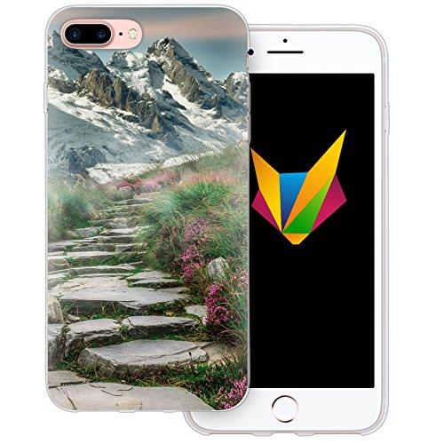 Mobilefox Berge transparente Silikon TPU Schutzhülle 0,7mm dünne Handy Soft Case für Apple iPhone 5/5S/SE Berggipfel - Cover Gel Hülle Bergpfad