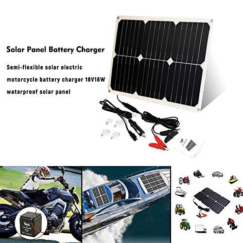 Solar Batería Maintaner 18 V 12 V 18 W Solar Coche Barco Panel de alimentación Cargador para Automóvil Moto Tractor Barco Fácil de usar. Simplemente conecta este cargador de coche en el enchufe de 12 voltios de tu vehículo y coloca el panel para r...