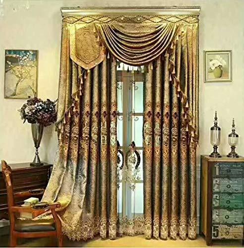 DYJNTRFG Europäischer Bestickt Blackout Vorhang Gold Jacquard Villa Vorhang 145cmx260cm (Breite x Höhe) 2 Panels Bildfarbe (außer dem Vorhang)