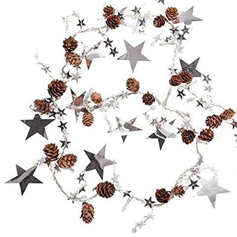 WeRChristmas Light String Garland with Pine Cones and Stars with 20 White LED, 6 ft - Silver