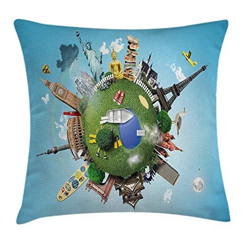 atopking World Kissenbezug, Kleiner Planet mit historischen berühmten Sehenswürdigkeiten rund um die Welt Urlaub Reise Tour, dekorative quadratische Akzent-Kissenbezug, 45,7 x 45,7 cm, Mehrfarbig