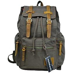 Mochila de hombro de cuero de lona casual vintage Mochila mochila Bolsa de senderismo (Verde del ejército)