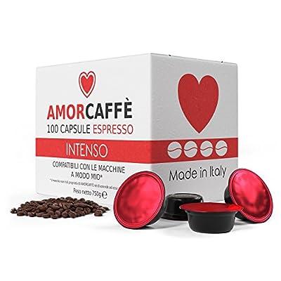 Amorcaffe 100 Lavazza A Modo Mio Compatible Coffee Capsules Pods - Intenso taste by Amorcaffe