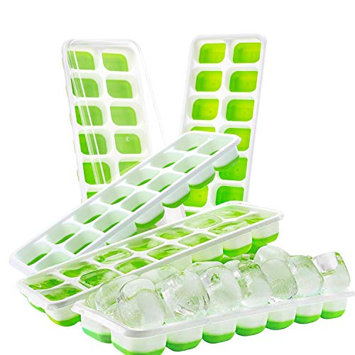Eiswürfelform (5er Set) - BPA Freie Flexible Silikon Eiswürfelbehälter mit Deckel - Eistabletts mit 14 Eiswürfel - Ideal für Babynahrung, Wasser, Cocktail, Partys und Bars (Grün) -