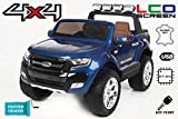 Ford Ranger Wildtrak 4X4 LCD Luxury, Elektro Kinderfahrzeug, LCD-Bildschirm, lackiert blau - 2.4Ghz, 2 x 12V, 4 X MOTOR, Fernbedienung, 2-Sitze in Leder, Soft EVA Räder, Bluetooth