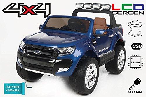 Ford Ranger Wildtrak 4X4 LCD Luxury, Coche eléctrico para niños, 2.4Ghz, Pantalla LCD, Azul pintado, 2x12V, 4 X MOTOR, mando...