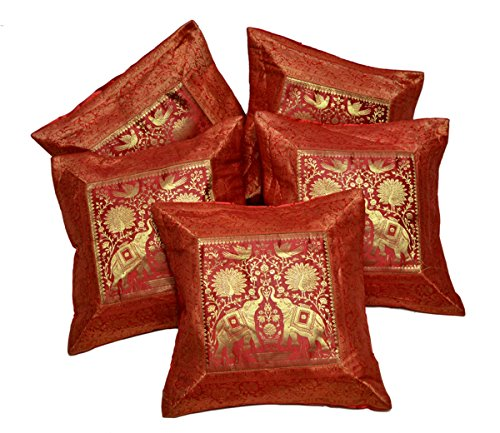 Fundas para cojín o almohada tela de brocado de seda india de trabajo étnico y bordado de elefantes, 43,18cm x 43,18cm, 5 unidades, seda sintética, Rojo, 51 x 51 cm