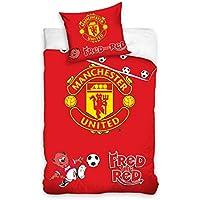 Manchester United fútbol Junior niño cuna cama funda de edredón 100x 135cm, 100% algodón