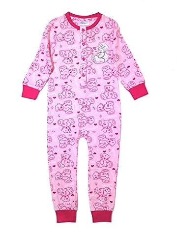 Pyjama combinaison pour filles 100% coton motifs Disney Princess, Monster High, Minnie Mouse, Angry Birds, Doc Mc Sofia, Fée Clochette Taille 1–10ans - rose - 5-6 ans