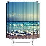 DDOQ Dauerhaft 1PC Wellen-Strand-Druck-Wasserdichter Duschvorhang-Einfacher Art-Polyester-Badezimmer-Vorhang