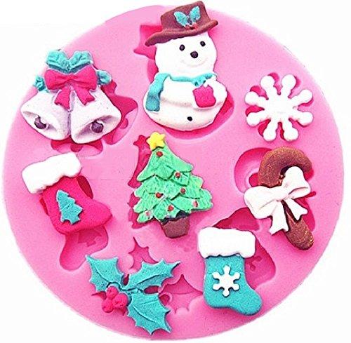 Stampo in silicone per uso artigianale di albero di natale - campane - calze - ghirlanda - caramella - pupazzo di neve - fiocco di neve