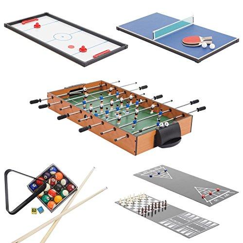 Tischkicker Wakefield, Tischfussball Billard Hockey 7in1 Multiplayer Spieletisch, 82x107x60cm -