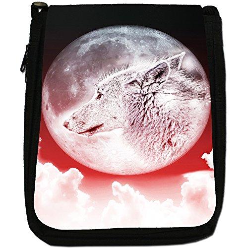 Lupo e luna Medium Nero Borsa In Tela, taglia M Moonlight Wolf - Red