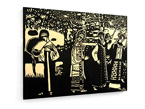 Kostüm Folklore Russische - Wassily Kandinsky - Frauen im Wald - Holzschnitt 1907-80x60 cm - Textil-Leinwandbild auf Keilrahmen - Wand-Bild - Kunst, Gemälde, Foto, Bild auf Leinwand - Alte Meister/Museum