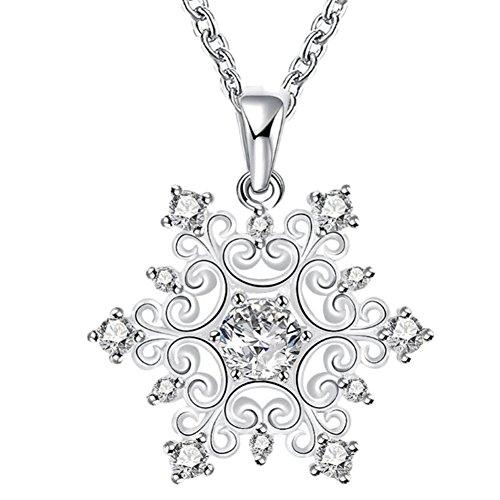 Hosaire 1x Frau Halskette Mode Schneeflocke Form Anhänger Necklace Damen Silber Farbe Clavicle Schmuck Zubehör Mädchen Halsketten Ketten