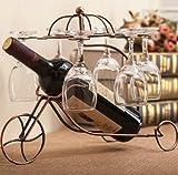 Hihouse stile retrò vino rack europeo bronzo appeso portabicchieri bici sezione per una bottiglia di vino con 6bicchieri
