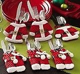 ILOVEDIY 2Sets Besteckhalter Weihnachten Taschen Bestecktasche Tischdeko Santa Kleidung Hosen