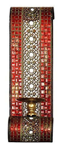 Carrick Design Mosaic Wall Sconce Pair, Metal, Multi-Colour, 67 x 14 x 14 cm