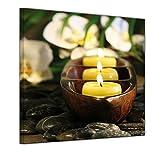 Bilderdepot24 Kunstdruck - Wellness Kerzen - Bild auf Leinwand 40 x 40 cm - Leinwandbilder - Bilder als Leinwanddruck - Wandbild Geist & Seele - Buddhismus - Zen Steine mit Kerzen