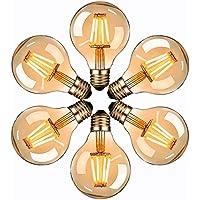Vintage Edison Light Bulb, massway LED Classic Edison Bulbs, Old Fashioned Style Globe Bulb Retro Spiral Lamp,Warm Light 4W G80 E27 220V - 6 Pack