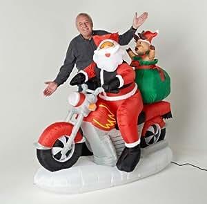 aufblasbarer weihnachtsmann motorrad fahrend mit teddy. Black Bedroom Furniture Sets. Home Design Ideas
