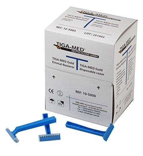 Tiga-Med-maquinillas Oro 1hoja Azul 100Unidades