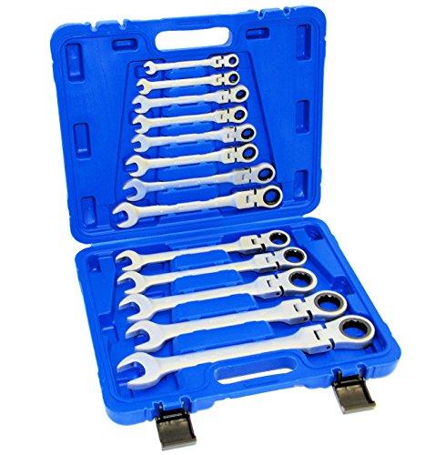 13-tlg. Gelenk Ratschenschlüssel Maulschlüssel-Set Chrom-Vanadium-Stahl in Profi-Qualität
