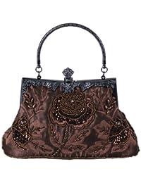 5ce96fc28f97 Whoinshop Women s Seed Beaded Rose Vintage Evening Cluth Party Purse Bag  Wedding Handbag