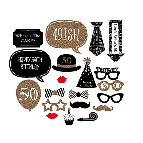 Foto-Requisiten-Set zum 30. oder 40. Geburtstag mit Schnurrbart, lustige Party-Dekoration, 20-teilig, für Mann und Frau 50th ()
