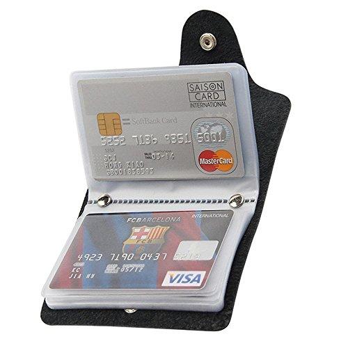 Kleine Praktische Ausweis-und Kreditkartenetui Kartenmappe Karte Geldbeutel Kreditkartenhüllen für 24 Karten Schwarz und Rot (Schwarz)